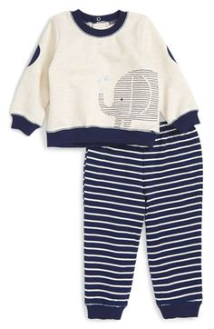 Free shipping and returns on Little Me Elephant Sweatshirt & Sweatpants Set (Baby Boys) at Nordstrom.com. A cute embroidered elephant adds a whimsical touch to a cozy set that pairs a long-sleeve sweatshirt with soft sweatpants fitted with ribbed cuffs.