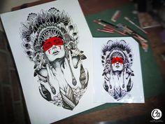 #Ilustracion #ListoParaUnCuadro, Mujer Apache , con colores y estilografos