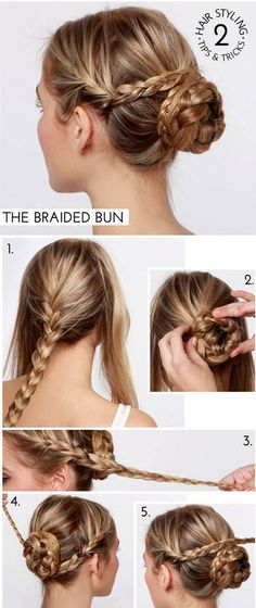 Braid on the sides/Braided bun- a fun hair style for a special event, party or holiday! The Braided Bun hair tutorial! Braided Hairstyles Tutorials, Pretty Hairstyles, Easy Hairstyles, Braid Tutorials, Hairstyle Ideas, Wedding Hairstyles, Dancer Hairstyles, Hairstyles 2018, Formal Hairstyles