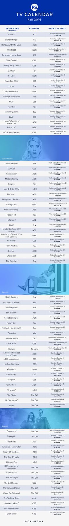 Don't miss a single show this Fall with thisl TV Calendar 2016