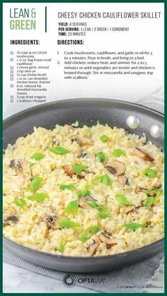 You had me at cheesy chicken! Try Stacey Haw… Cheesy Chicken Cauliflower Skillet. You had me at cheesy chicken! Try Stacey Haw… Medifast Recipes, Low Carb Recipes, Cooking Recipes, Healthy Recipes, Free Recipes, Lean Recipes, Chicken Cauliflower, Cheesy Chicken, Cauliflower Casserole
