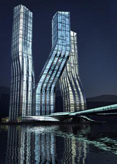 Zaha Hadid Architects. Dancing Towers, Dubai.