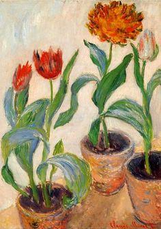 Claude Monet. Three Pots of Tulips (1883).