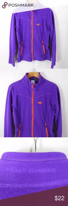 HELLY HANSON HH Sz M Zip Up Fleece Purple with Orange trim. Soft, warm and cozy fleece.  Worn only a few times still in great condition! Pre-loved No flaws. Helly Hanson Sweaters