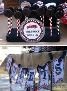Fire Truck birthday party ideas... for Noelle  I already have the straws to do this too!