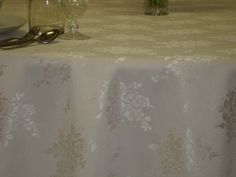 Cream Flowers, reversable, 320 cm Round/216x320 cm rectangular/Special Size damask tablecloths, Table runners, Napkins. Easy clean, Quick dry. Long life.