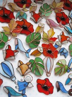 Stained glass poppy brooch