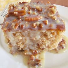 Southern Pecan Praline Cake with Butter Sauce is hands-down the BEST cake you will ever make! Boxed cake mix has NEVER tasted SO good!