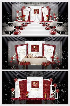Red white marble wedding effect picture#pikbest#decors-models