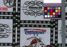American Chopper Fabric by the Yard Harley Davidson Fussy Cut Crafting Quilting Sewing Biker Harley Décor Wall Hanging Art Swing a leg over