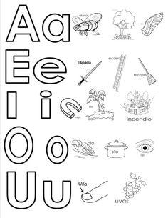 Vocales mayúsculas y minúsculas. Abeja, árbol, ala, espada, escalera, escoba, imán, isla, incendio, ola, olla, ojo, uña, uvas