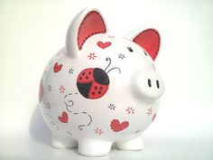 Ladybugs and Hearts Piggy Bank Hand-painted & by SamselDesigns