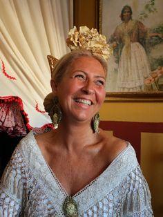 Ana Andaluz Dominguez, Maricarmen Onrubia's sister-in-law, Caseta de los Nietos de Don Manuel, Feria de Abril de Sevilla, April 14, 2016.  Photo by Gerry Dawes©2016, Canon M3