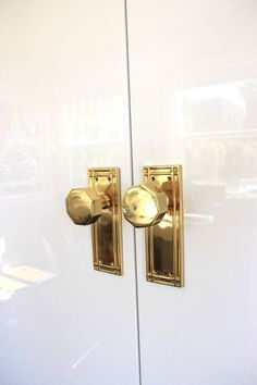 vintage brass knobs (unsealed, I hope) for my closet doors. photo from emily henderson