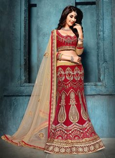 Absorbing Embroidered Work Net A Line Lehenga Choli