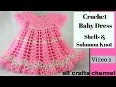 Crochet Baby Dress/ Shells, Video 2 / Subtítulos en Español - Yolanda Soto Lopez - YouTube