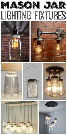 Kitchen Lighting Ideas Great mason jar lighting fixtures for your rustic home! - Add one of these mason jar lighting fixtures to your home for a touch of farmhouse style. We have options for you to purchase or make your own! Rustic Bathroom Lighting, Rustic Light Fixtures, Kitchen Lighting Fixtures, Farmhouse Lighting, Rustic Lighting, Home Lighting, Lighting Ideas, Bedroom Lighting, Modern Lighting