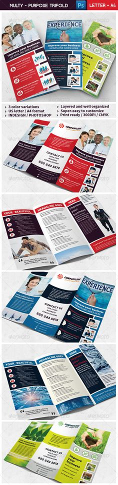 Multi Purpose Clean Design TriFold Vol. 01  #GraphicRiver        Multi Purpose Clean Design Tri Fold These layouts are not limited for a single business, they can be used for general purpose. The files are created in order to be used by everyone, with just a basic knowledge of the softwares.  3 color variations – SUPER EASY to CUSTOMIZE  Print size:US Letter 8.5×11 inches + ISO A4 297×210 mm  Color: CMYK /300 dpi – Bleed area: 0.25 inches + 3 mm  InDesign CS3-4-5 (.INDD, .IDML, .INX)…