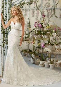 Morilee Bridal Embroidered Appliques and Scalloped Edging on Net with Sheer Train and Crystal Moonstone Beading
