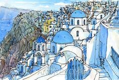 Santorini Oia 4 Greece art print from an original watercolor painting
