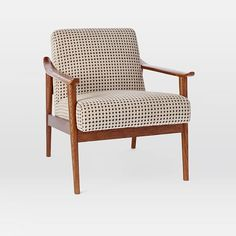 Mid-Century Show Wood Upholstered Chair, Margo Selby Flocked Velvet, Stone Dot