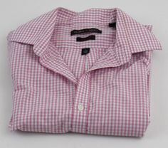 Valerio Garati Button Front Shirt Small S 14 14.5 32/33 Slim Fit Pink White  #ValerioGarati #ButtonFront