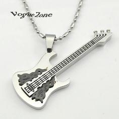 Guitare argent en acier inoxydable pendentif collier frozen bijoux zelda chaîne en or pour les hommes anchor teen wolf papillon kpop BP1144(China (Mainland))