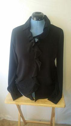 Womens Berkertex Black Long Sleeve Ruffle Blouse Top Shirt Sz 14 Vintage VTG #Berkertex #Blouse