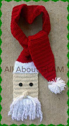 Items similar to Beautiful Crochet Santa Scarf on Etsy Crochet Christmas Hats, Crochet Santa, Christmas Crochet Patterns, Holiday Crochet, Crochet Baby, Christmas Scarf, Crochet Scarves, Crochet Hooks, Crochet Crafts