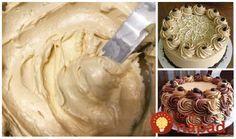 Tento krém používam už roky, je výborný a recept mám od cukrárky, ktorá nám robila svadobnú tortu. Krém sa mi vždy krásne vydaril. Môžete namiesto kakaa môžete pridať vanilku, punčovú arómu, karamel alebo akúkoľvek inú Sweet Desserts, Sweet Recipes, Mini Cheesecakes, Icing, Peanut Butter, Food And Drink, Cupcakes, Sweets, Cookies