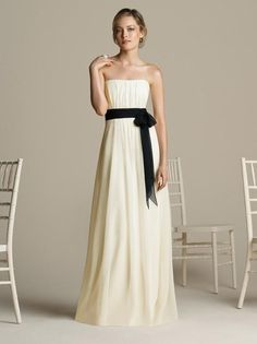 Classic A-line Strapless Bridesmaid Dresses With Contrast Black Sash