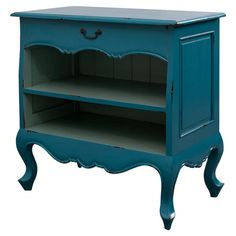 Bring classic appeal to your guest bedroom or den with this charming mahogany cabinet, featuring cabriole legs and a blue finish.  P...