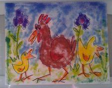 "NFAC Bird Chickens Hen Original 8""x 10"" Mixed Media Painting Whimsical Naive"