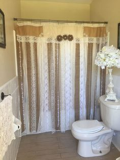 """72"""" SHABBY Rustic Chic Burlap SHOWER Curtain Lace Ruffles FLOWER French Country #handmade #FrenchCountry"""