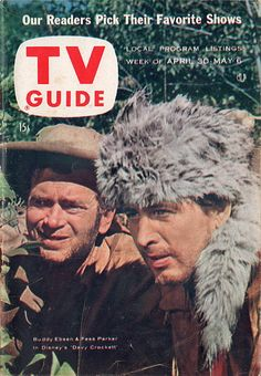 "Buddy Ebsen and Fess Parker of ""The Adventures of Davy Crockett""   April 30-May 6 1955"