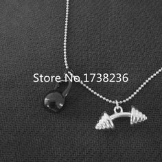 High Quality Fashion Dumbbell And Black Kettlebell Crossfit Bead Chain Necklace