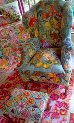 Fantastic fruit embroidered needlepoint chair by Kaffe Fassett. Check out more details and for a close up of the work at http://deeperdazzle.com/tag/textiles/