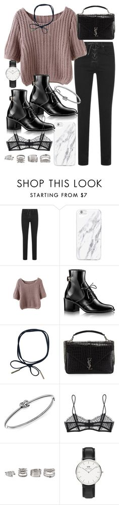"""""""Untitled #20102"""" by florencia95 ❤ liked on Polyvore featuring rag & bone, Yves Saint Laurent, Michael Kors, Maison Close, Forever 21 and Daniel Wellington"""