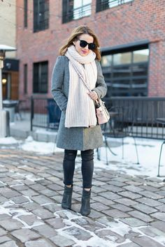 Gray minimal outfit + blush accessories