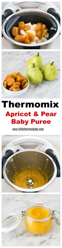 Apricot and Pear puree is another delicious puree. Super easy and quick to make in your Thermomix. Your baby is going to LOVE the sweet, smooth combination of apricot and pear. Pear Baby Puree, Pureed Food Recipes, Baby Food Recipes, Healthy Recipes, Apricot Puree Recipe, Dutch Baby Recipe, Homemade Baby, Super Easy, Thermomix
