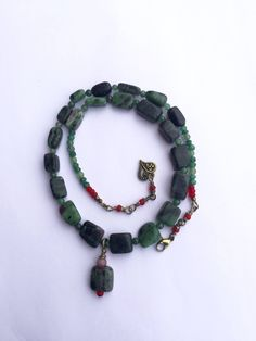 Excited to share the latest addition to my #etsy shop: Ruby in Zoisite Necklace, Healing Gemstone Dark Green Necklace, Chunky Necklace, Boho Beaded Necklace with Green Aventurine #jewelry #necklace