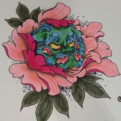 Foo dog peony up for grabs ready for the Taiwan tattoo convention #tattooflash…