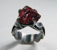Natural Raw Blood Red Garnet Ring by CybersilverJewellery