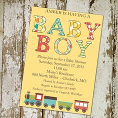 baby boy shower invitation with a train by katiedidesigns on Etsy, $13.00
