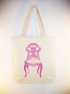 Beautiful Vintage Ornate Chair illustration 15x15 Canvas Tote -- Larger zip top tote style and personalization available - IMAGE IN ANY COLOR