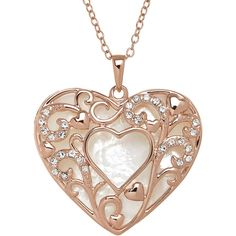 Crystal-Accent Mother-of-Pearl 14K Rose Gold Over Sterling Silver... ($167) ❤ liked on Polyvore featuring jewelry, necklaces, accessories, collares, 14k rose gold necklace, heart pendant, sterling silver collar necklace, pendants & necklaces and long necklace pendant
