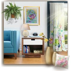 Flowering room. Little oil painting in the living room. A home decor collage from September 2017 by canisartstudio featuring interior, interiors, interior design, home, home decor, interior decorating, HUGO, Bluebell...