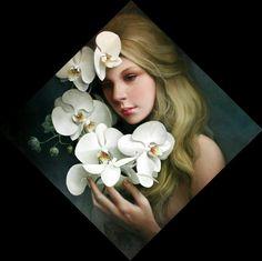 Cuadros de rostros de mujeres con flores
