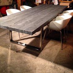 Pi tement en acier noir noir vario moma tables rectangulaires tables et chaises salon et - Tafel salle a manger loft ...