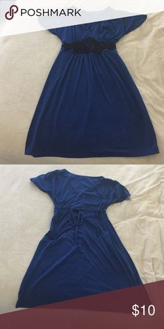 Cute mymichelle dress *final price reduction* Small, blue, short-sleeves dress with black lace detail.  The dress ties in back.  Great work or casual dress!  Lightly used but in great shape and so comfortable!  Also listed on Merc with free shipping! My Michelle Dresses Midi